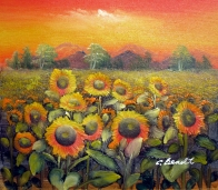 AQ (Sunflowers with Sunset) *Landscape*