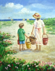 Boy and Girl with Buckets