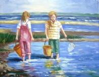 Boy and Girl Catching Fish